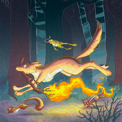 Coyote Brings Fire by Dreamwish