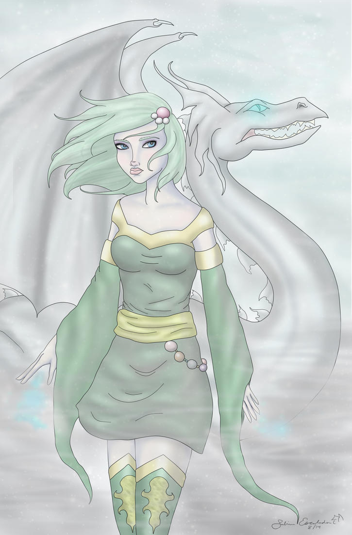 Rydia and Mist Dragon by ArtBySabinaE