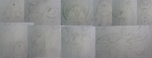 Monsters University Sketchdump by AndressaNerdMuniz