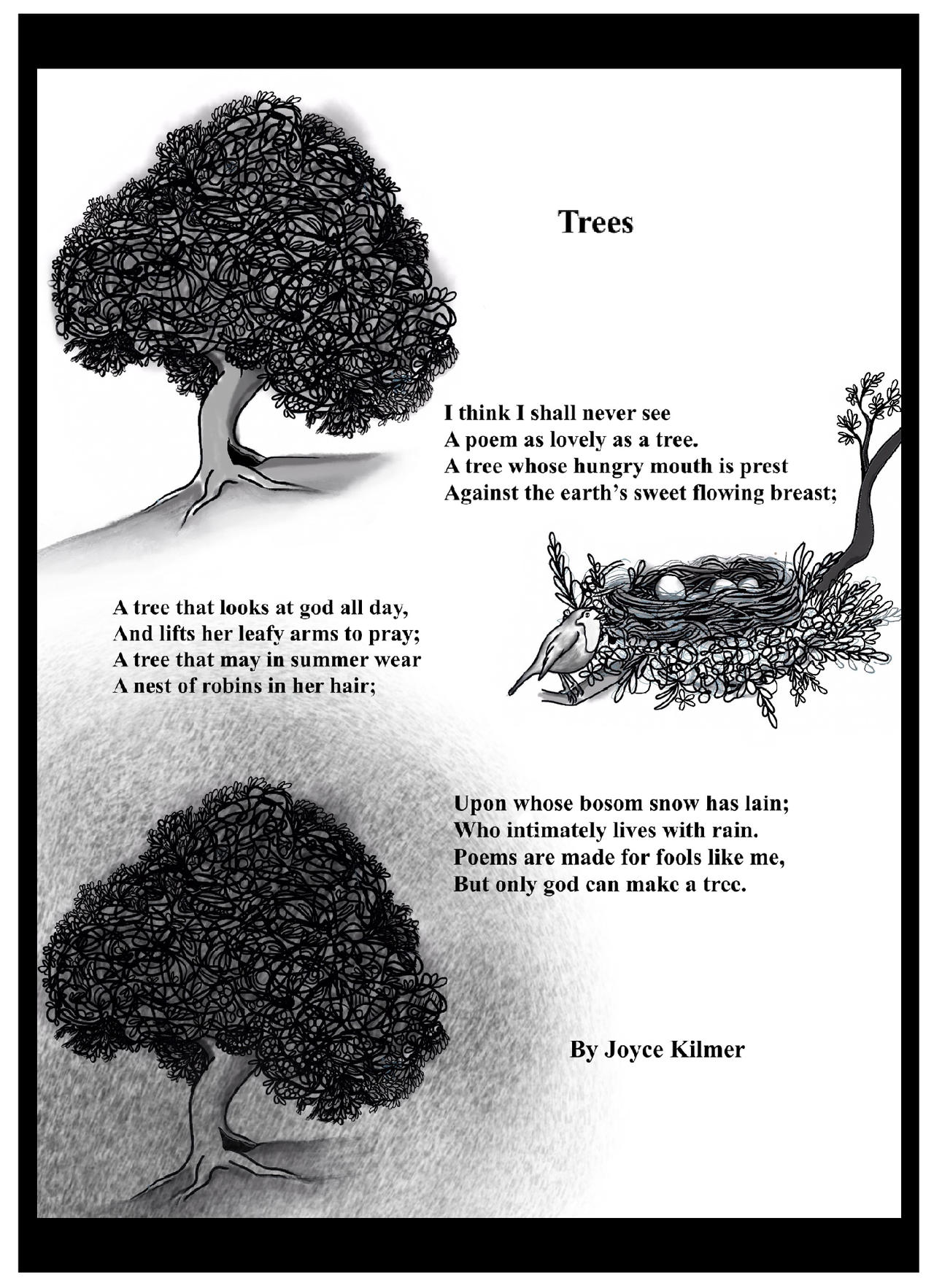 Trees Poem Illustration By Robyn91 On Deviantart Shop trees poem by kilmer, inspirational poetry quote magnet created by whattayasay. deviantart