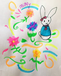 Miffy Highlighter Drawing by Taiya001
