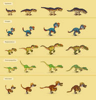 Small predator dinosaurs by Pykodelbi