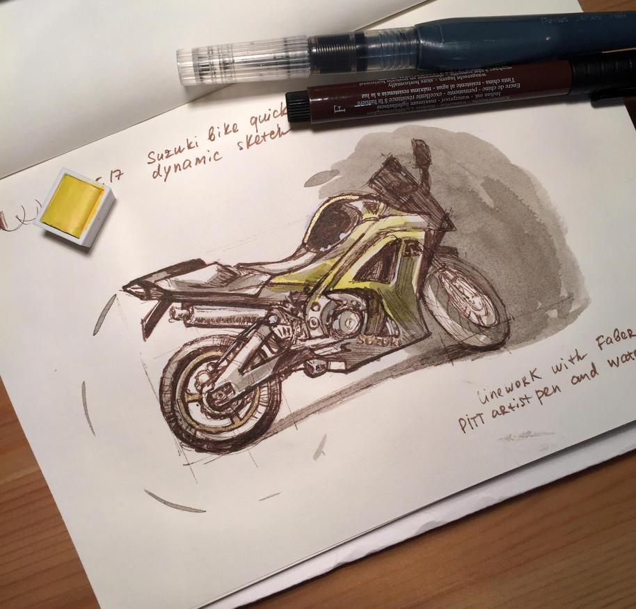 Suzuki motorcycle sketch Part1 by Pykodelbi