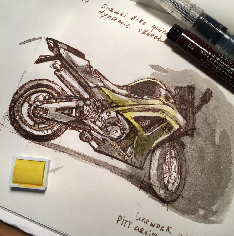 Suzuki motorcycle sketch Part2 by Pykodelbi