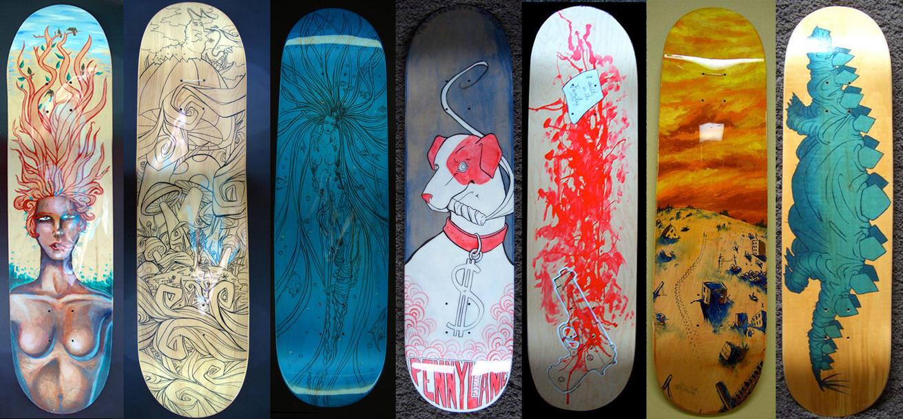 Skateboard decks 2010 by azraelengel on deviantart for Best paint for skateboard decks