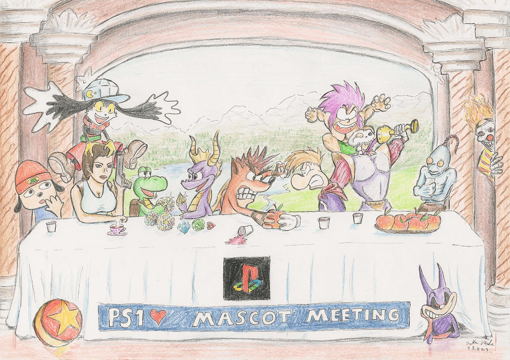 PS1 Mascot Meeting by SoulEaterSaku90