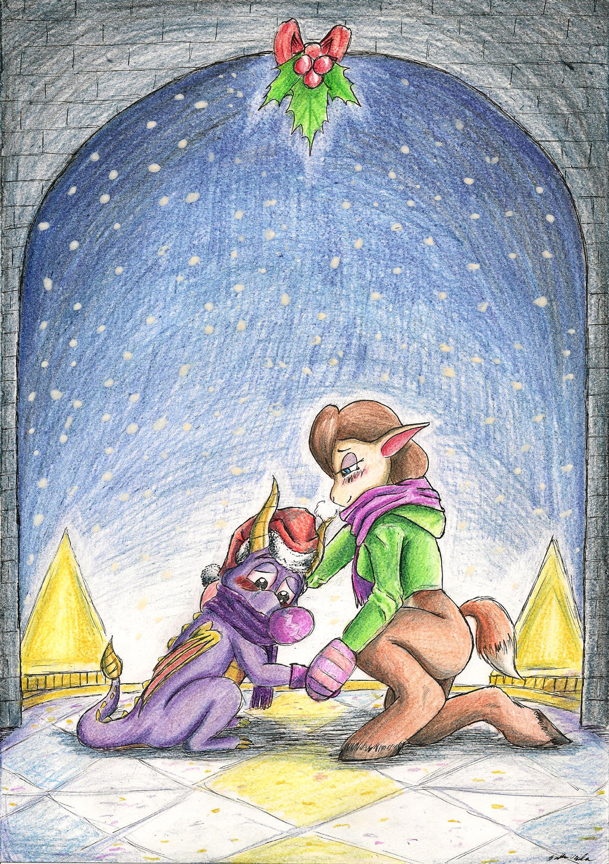 Spyro and Elora: Under Mistletoe by SoulEaterSaku90