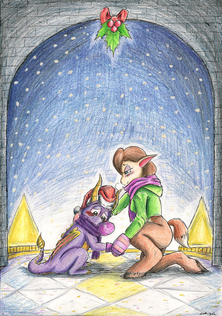 Spyro and Elora: Under Mistletoe by SoulEaterSaku90