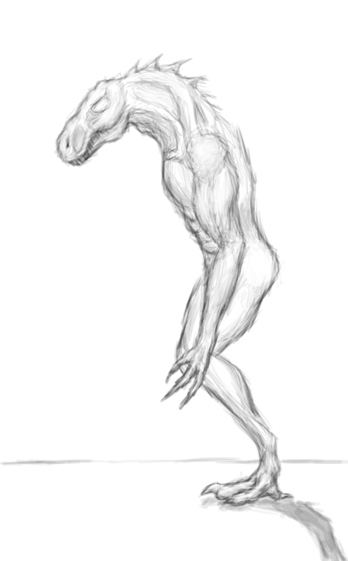 Rough Practice Sketch - Lizard/Human Anatomy by Zicorth on DeviantArt