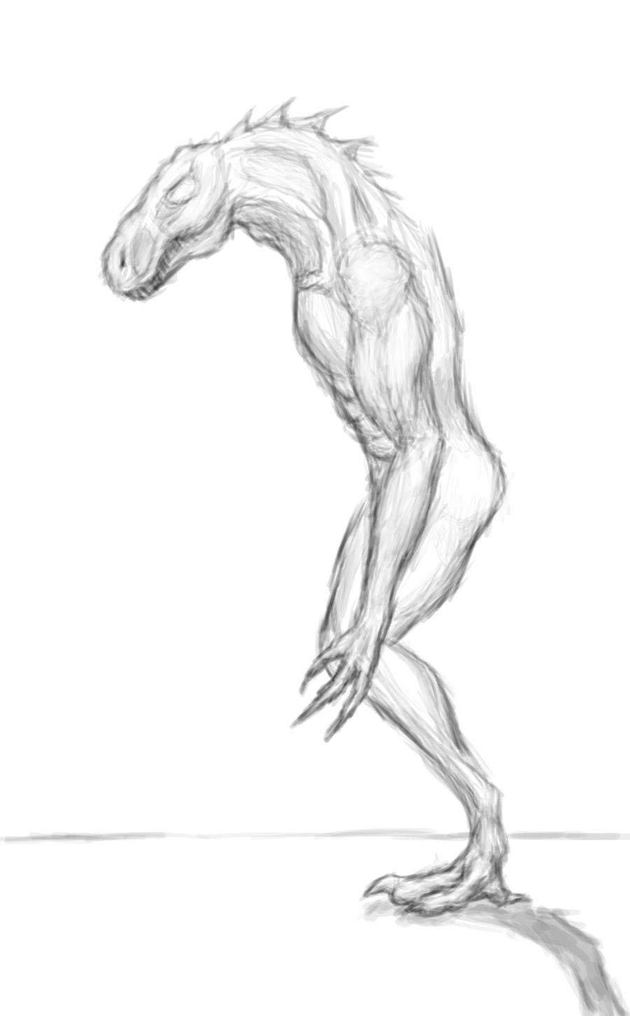 Rough Practice Sketch - Lizard/Human Anatomy by Zicorth on DeviantArt