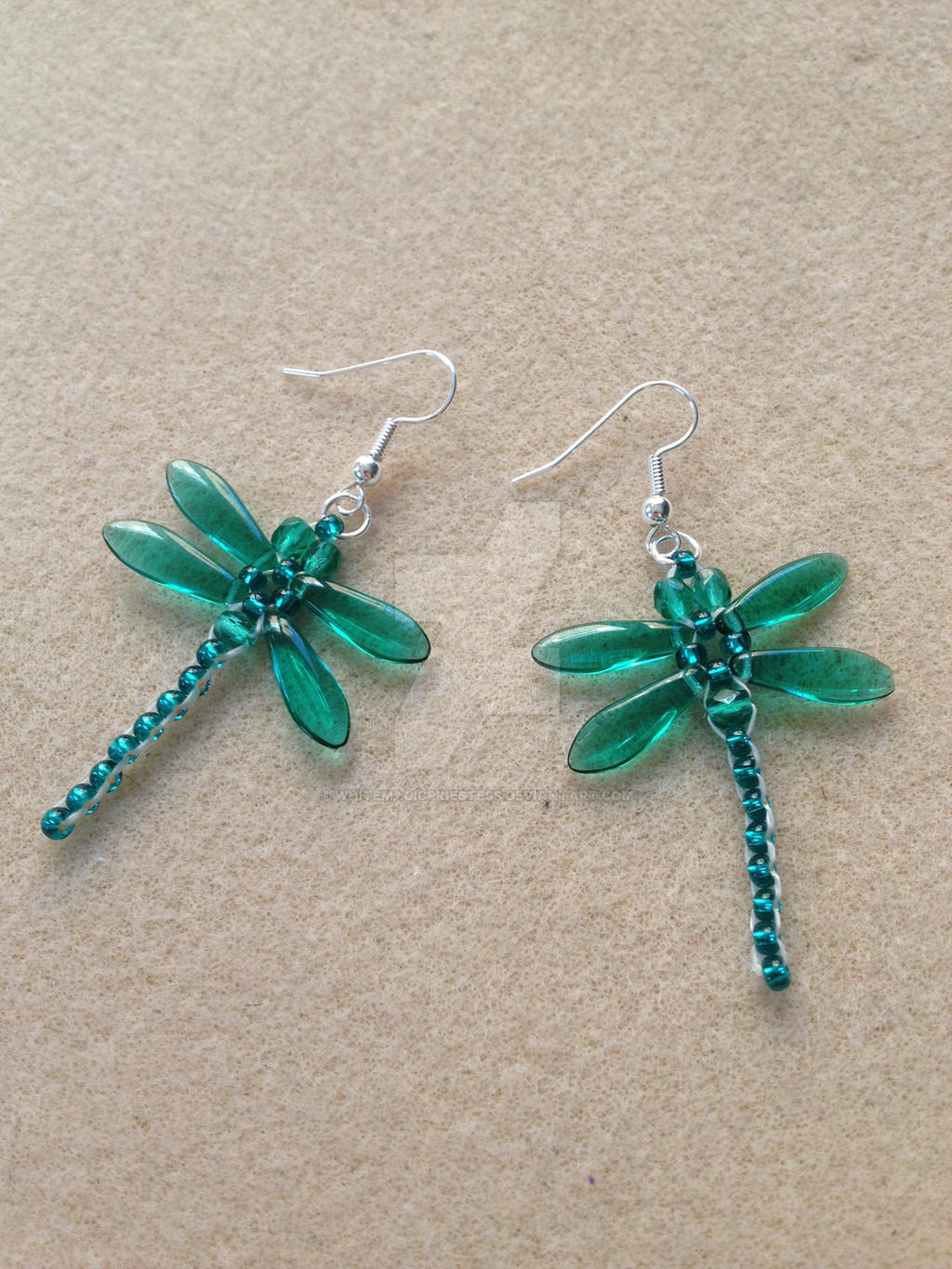 beaded dragonfly earrings teal by whitemagicpriestess on
