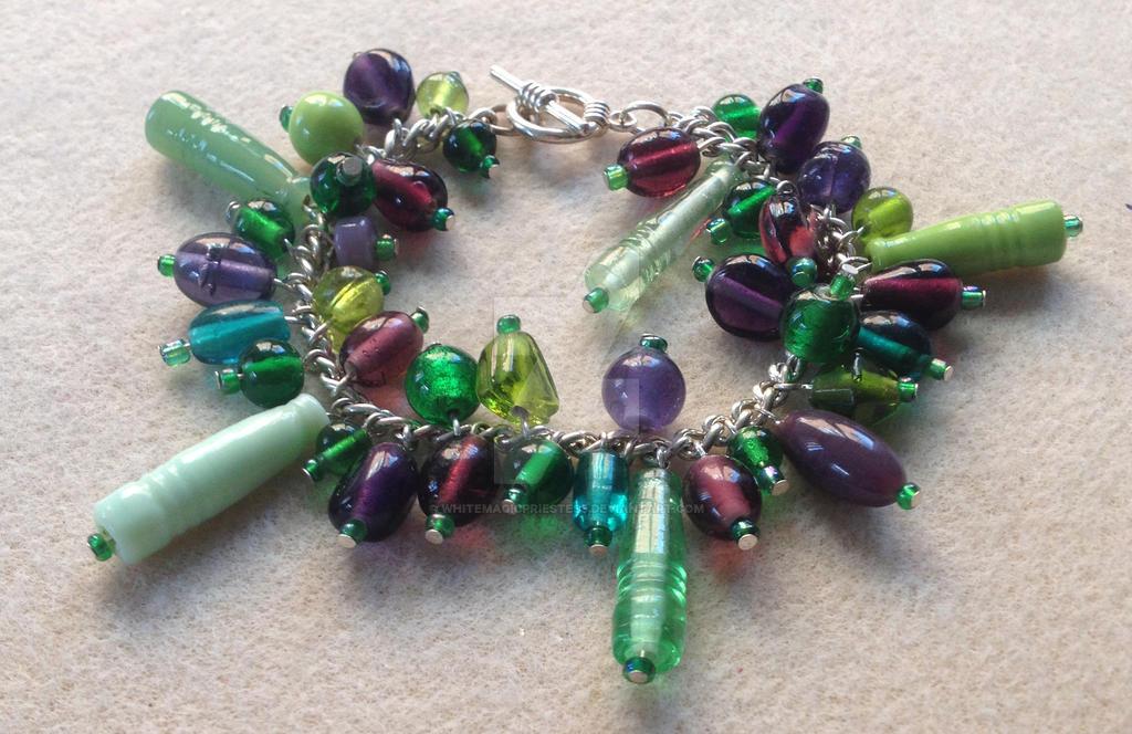 Cluster Bracelet - Green and Purple