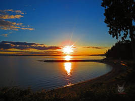 The Beach Sunset Over Bay