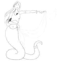 Snake Charmer - Lineart by Damki