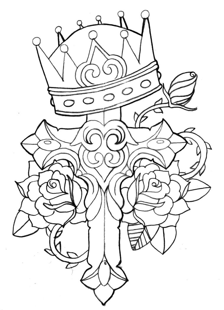 Cross Tattoo Line Drawing : Crown cross rose and thorn by c ko on deviantart