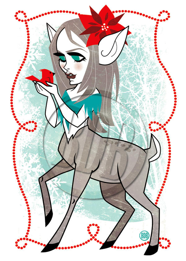 Deer Girl Holiday Card Art by belledee