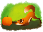 Fox and pumpkin