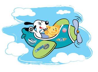 puppy n kitty in a plane by crischinchila