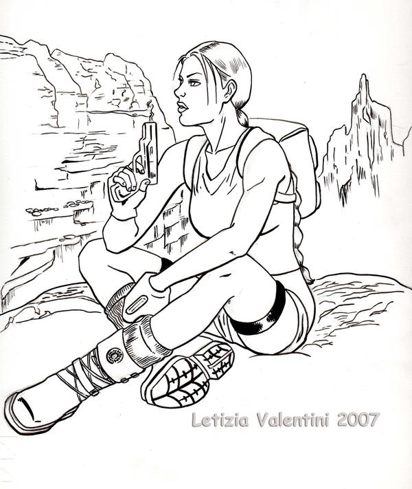 lara croft by lizziebennet - Lara Croft Coloring Pages