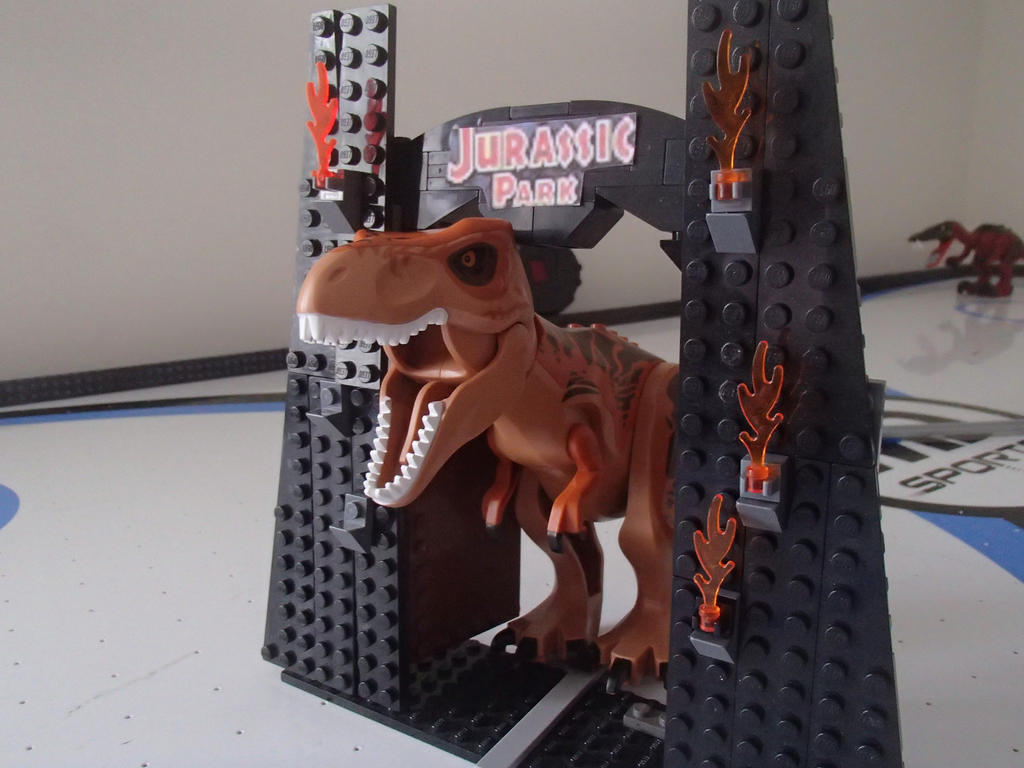 Lego jurassic park t rex with gate by darthlord1997 on for Puerta jurassic park