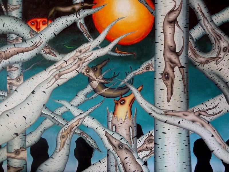 Birch tree dogs by marcelflisiuk