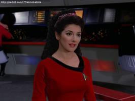 Troi in TOS uniform by deadfraggle
