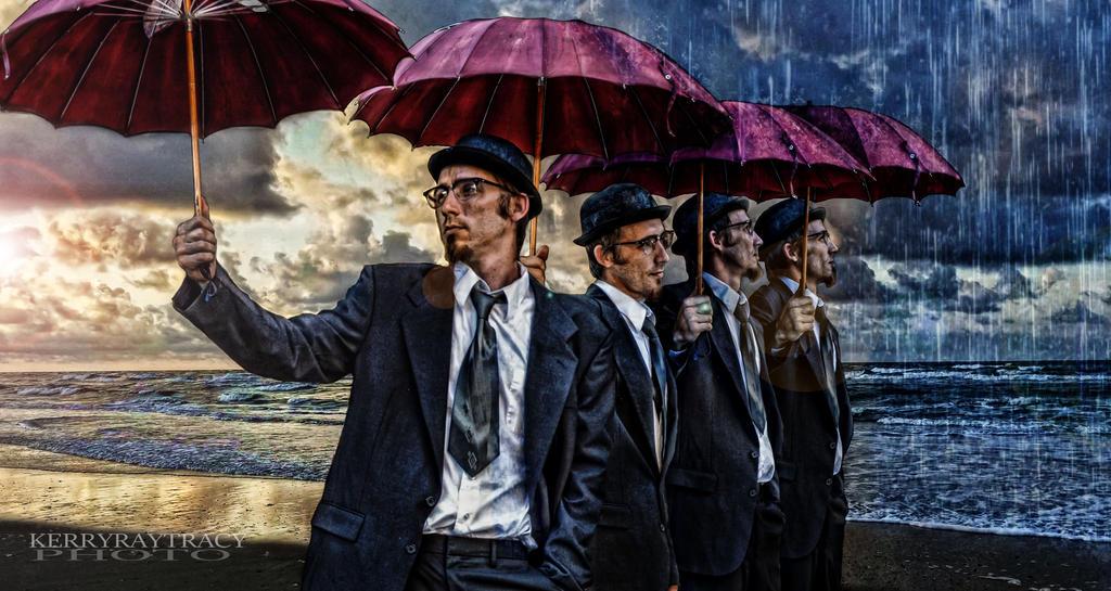 FOUR MEN W UMBRELLAS by thegiven32