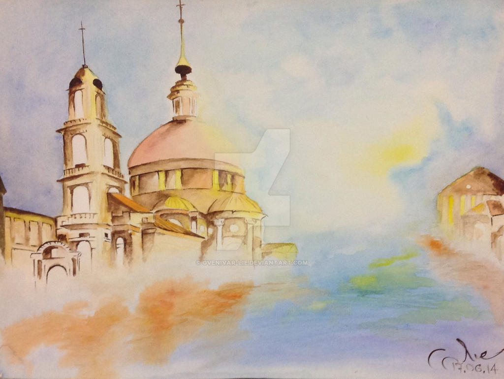 Church with water color by Gvenivar-Lie