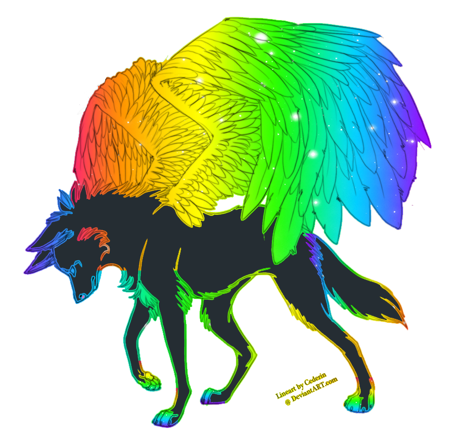 Breedable Rainbow Winged Wolf (male)((best Offer)) By