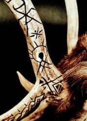 Reindeer mount 10, carved antlers by chricko