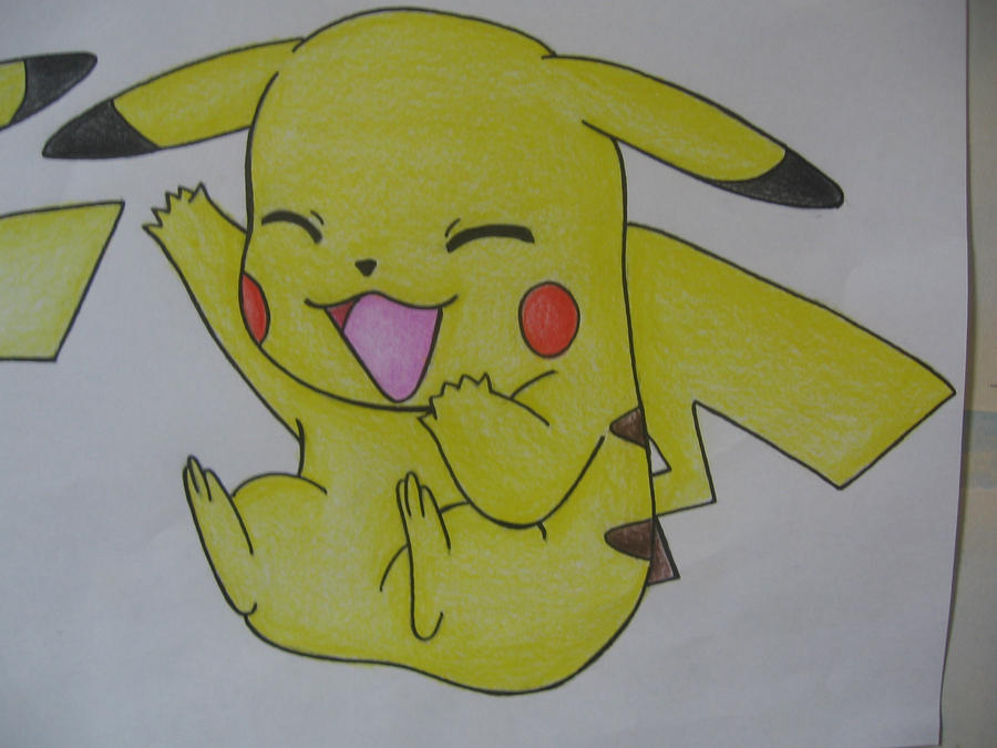 pikachu drawing 2 colour by sazmullium