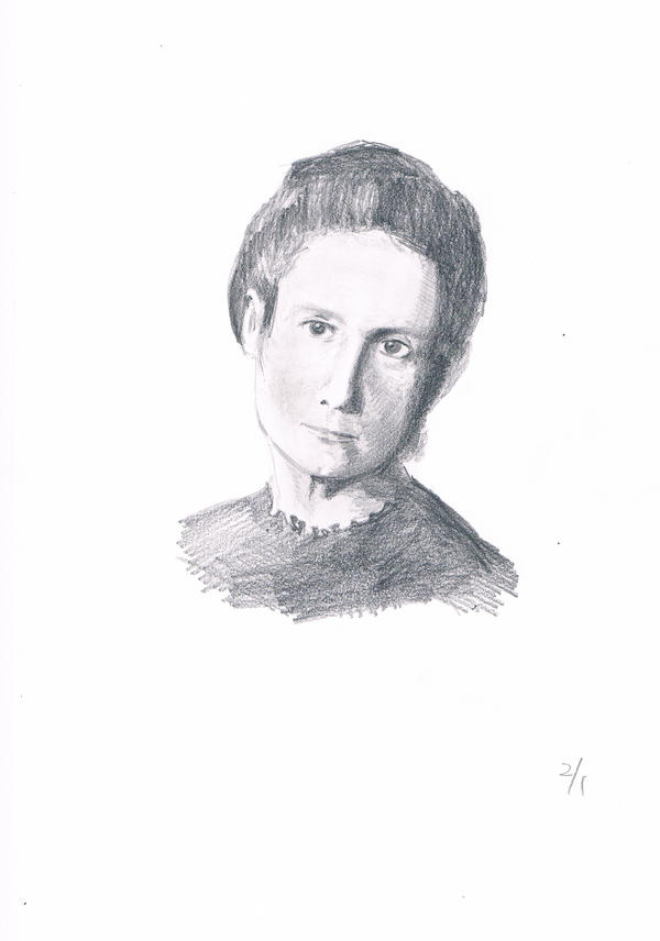 This is a graphic of Sizzling Marie Curie Drawing