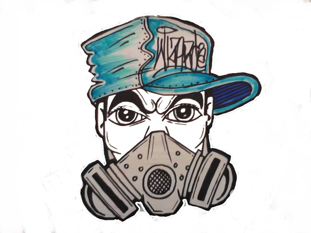 327Нарисованный череп по граффити