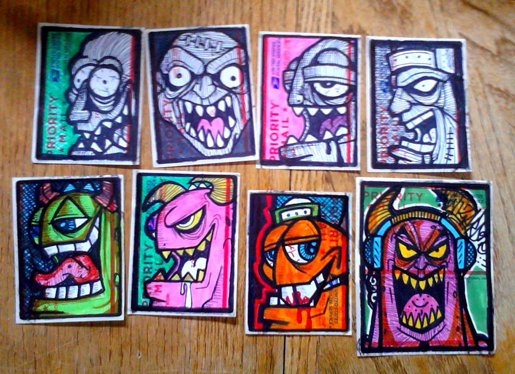 Graffiti characters stickers by wizard