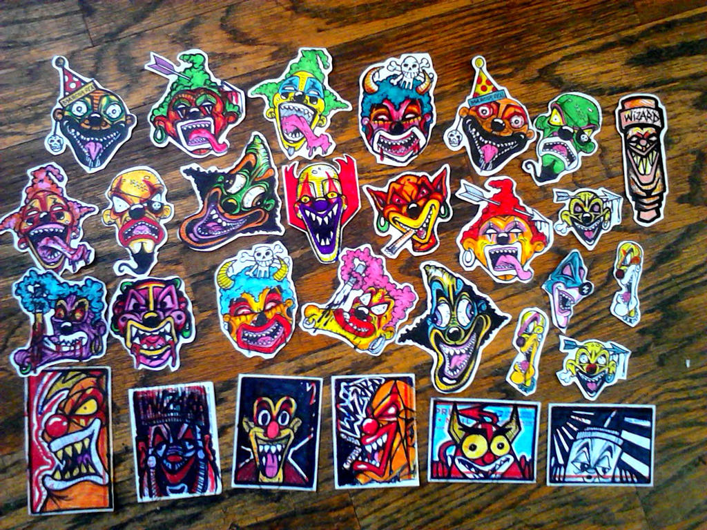Graffiti clown stickers by wizard1labels