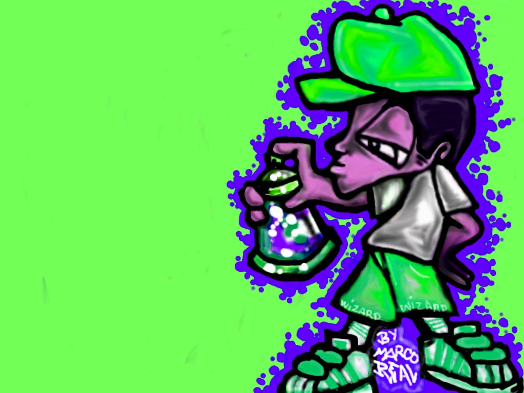 Graffiti character sticker by wizard1labels