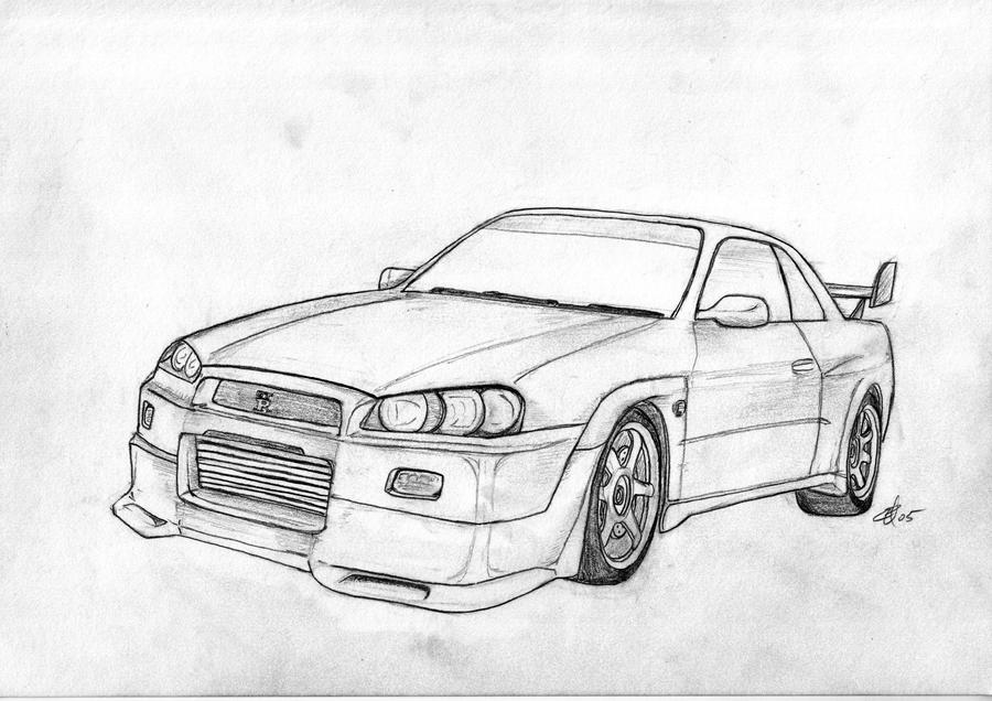 Nissan skyline gtr r34 free coloring pages for Coloring pages nissan gtr