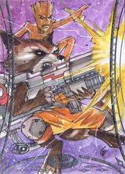 Rocket Racoon and Groot Sketch Card