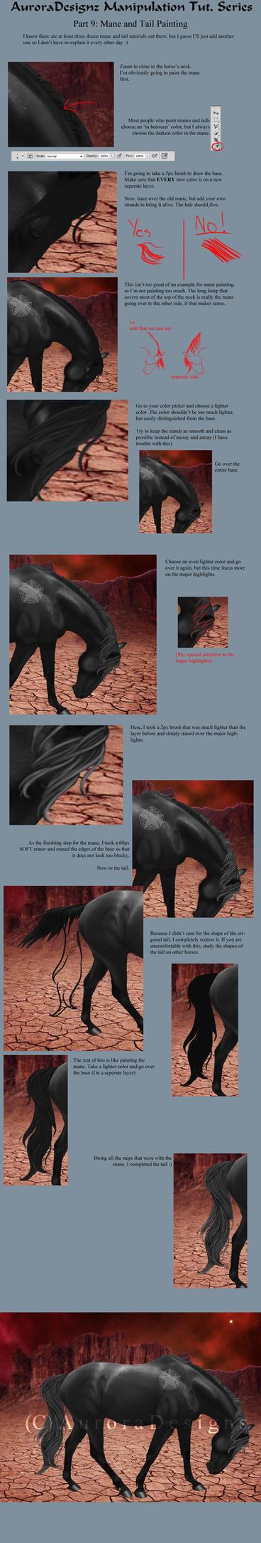 AuroraTutSeries Part 9: Mane and Tail Painting by xxAuroraStudios