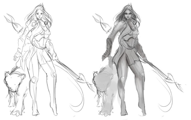 WIP of Nidalee-Oerba commission by WikiMia
