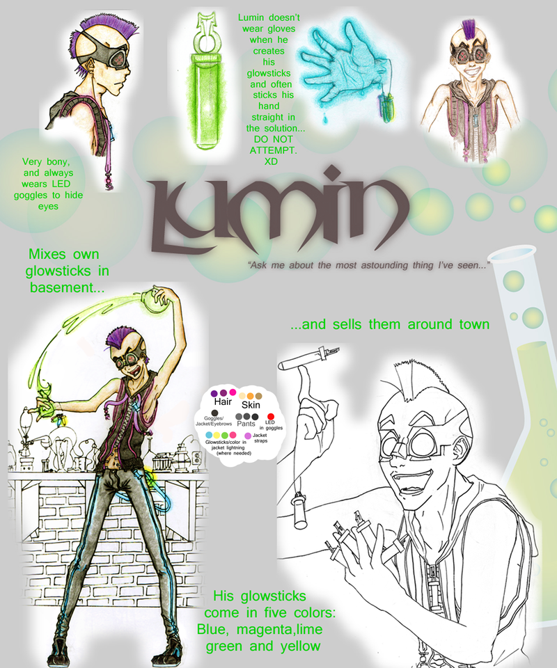 hero: Lumin da glowstick dude by ichimp-doodler