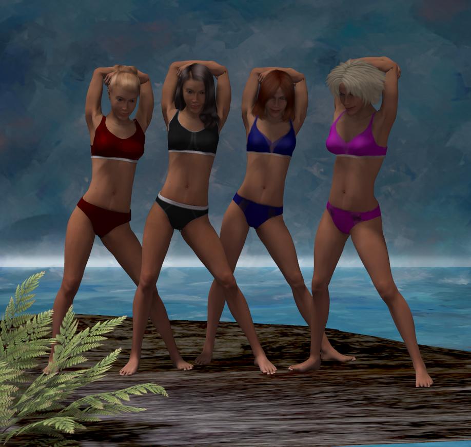 Beachgirls posing by Eidolon1