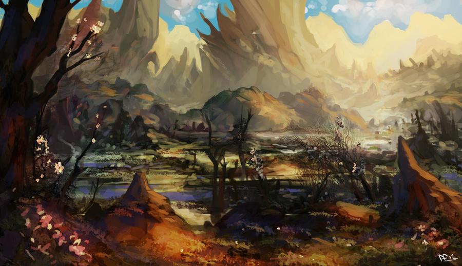 Pejzaži u slikarstvu... - Page 2 Fantasy_landscape_by_lennartverhoeff-d5o7yx9