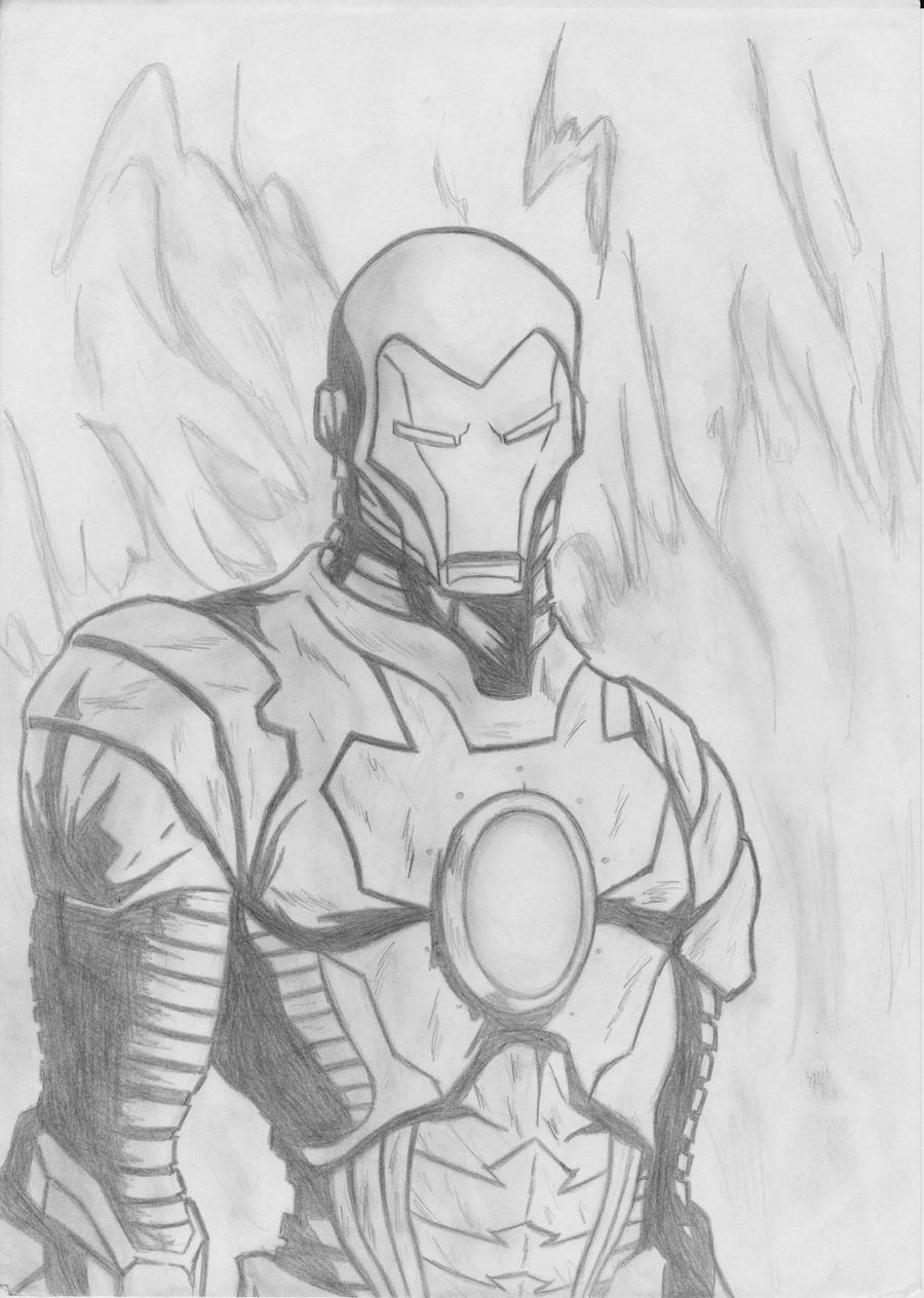 Iron man pencil by D-KenSama78 on DeviantArt Iron Man Pencil Drawings