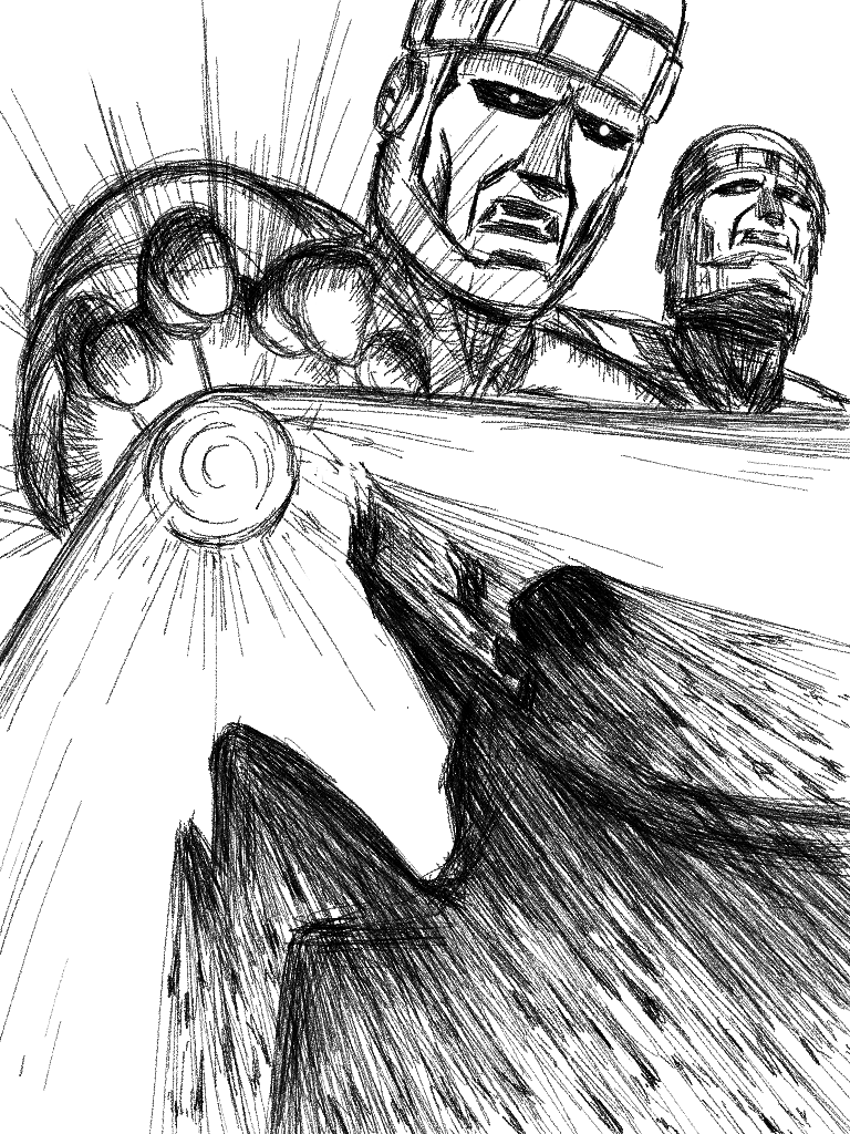 Angel vs. Sentinel page 2 (pencil) by D-KenSama78