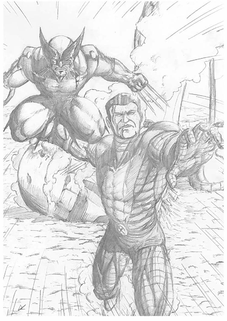 Colossus and Wolverine (pencil) by D-KenSama78