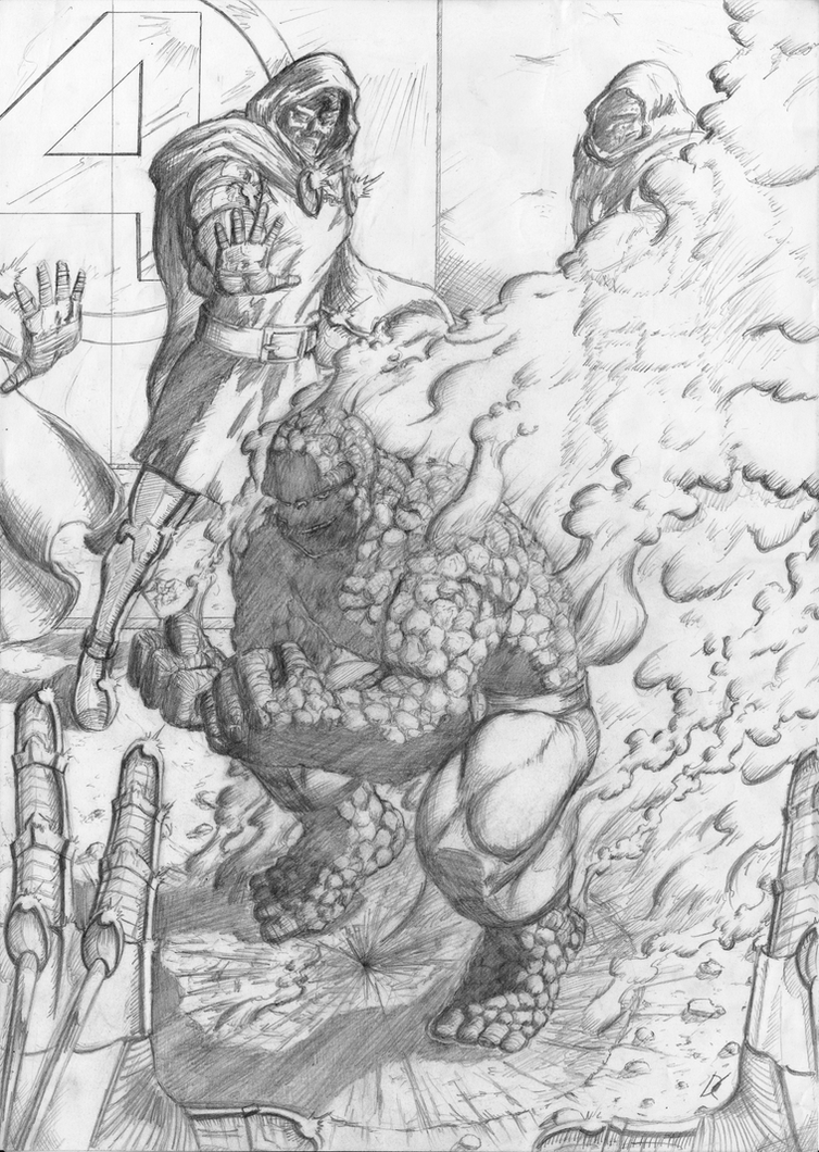 The Thing vs. Doombots (pencils) by D-KenSama78