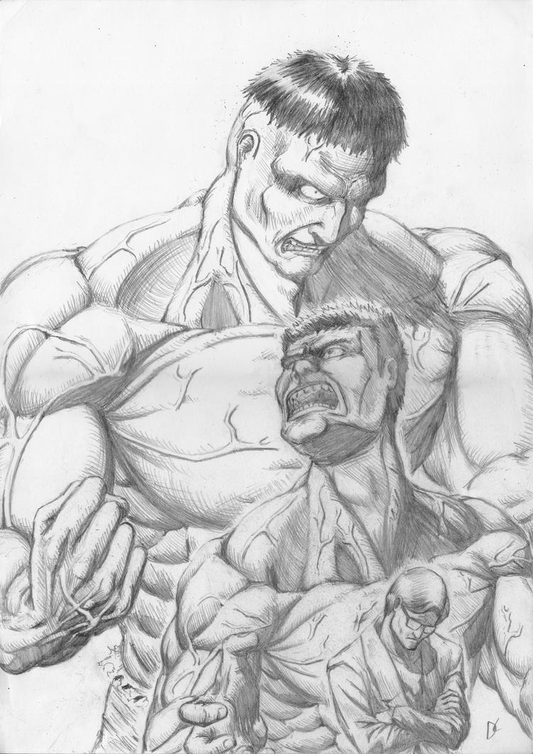 Hulk transformation (pencil) by D-KenSama78