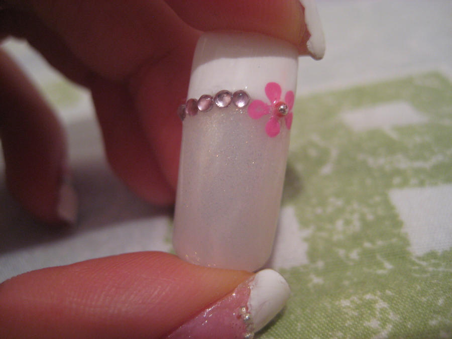 French tip with flower Nail Design by xsheervanilla on DeviantArt