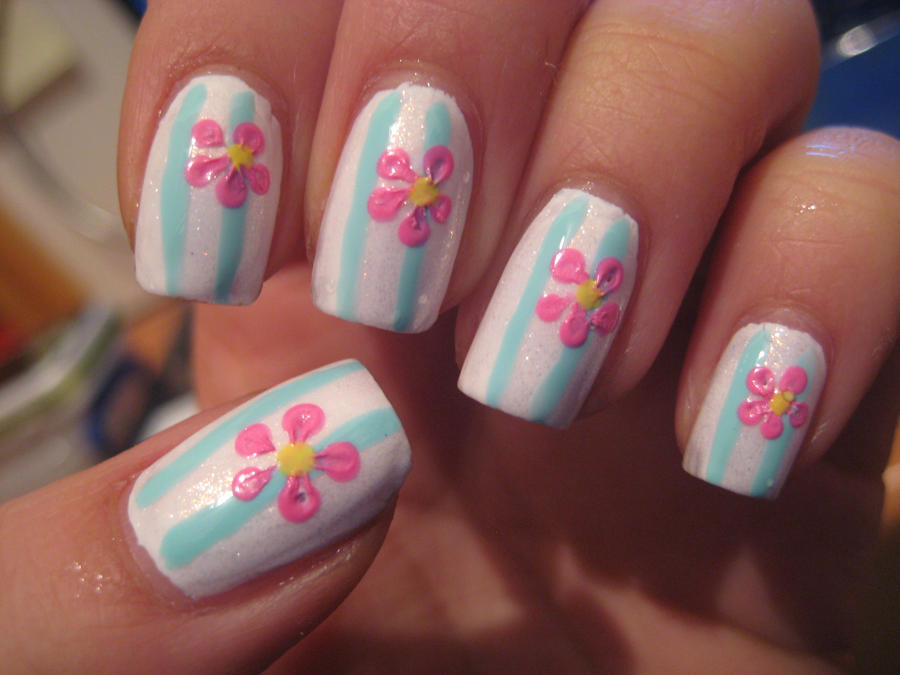 Simple flower nails by xsheervanilla on DeviantArt